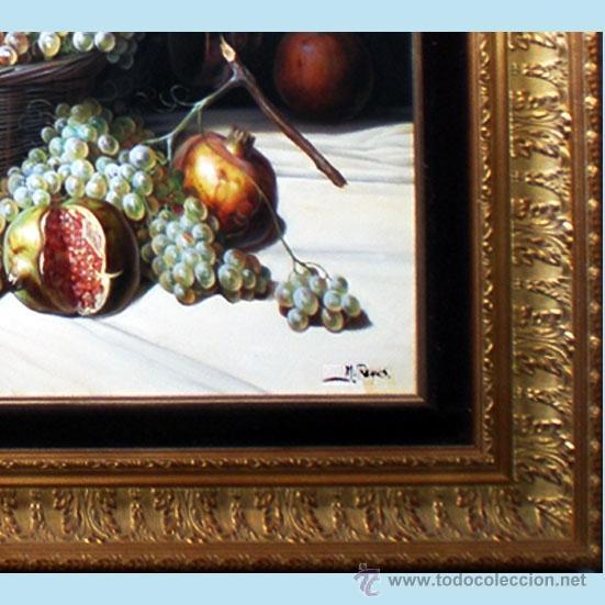 Arte: REYES, MANUEL.-MADRID. -BODEGON- OLEO SOBRE LIENZO.85 X 70 CM. HIPERREALISMO.FIRMADO-MARCO DE LUJO - Foto 3 - 41244231