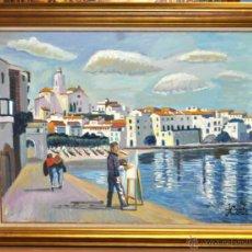 Arte: JORDI CURÓS VENTURA (BARCELONA, 1930) OLEO SOBRE TELA. VISTA DE CADAQUÉS. Lote 41296321