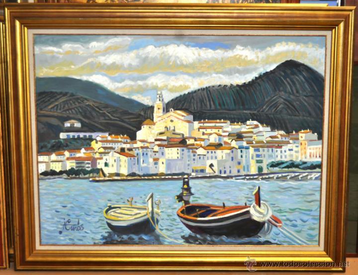 JORDI CURÓS VENTURA (1930 - 2017) OLEO SOBRE TELA. VISTA DE CADAQUÉS (Arte - Pintura - Pintura al Óleo Contemporánea )