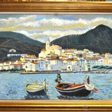 Arte: JORDI CURÓS VENTURA (BARCELONA, 1930) OLEO SOBRE TELA. VISTA DE CADAQUÉS. Lote 41296323