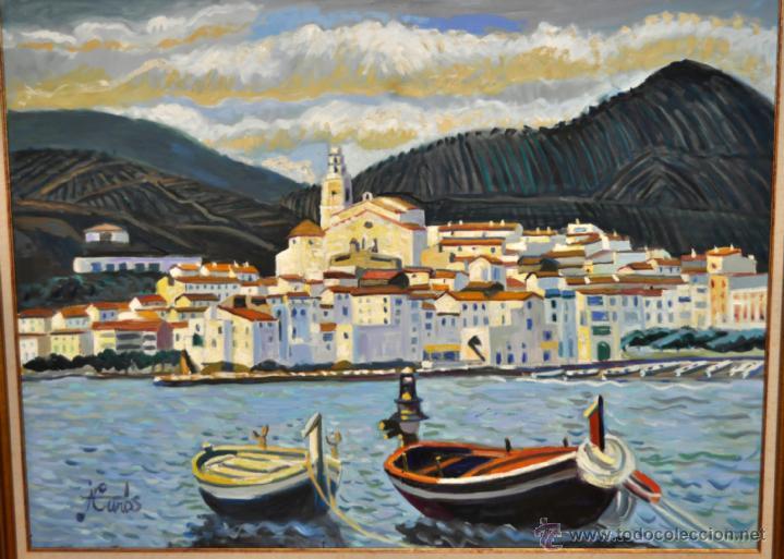 Arte: JORDI CURÓS VENTURA (1930 - 2017) OLEO SOBRE TELA. VISTA DE CADAQUÉS - Foto 2 - 41296323