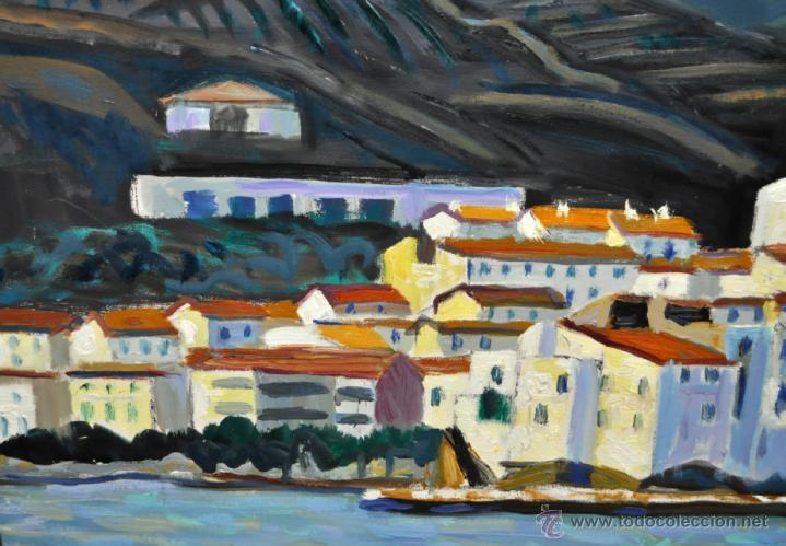 Arte: JORDI CURÓS VENTURA (1930 - 2017) OLEO SOBRE TELA. VISTA DE CADAQUÉS - Foto 5 - 41296323