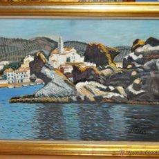 Arte: JORDI CURÓS VENTURA (BARCELONA, 1930) OLEO SOBRE TELA. VISTA DE CADAQUÉS. Lote 41296327