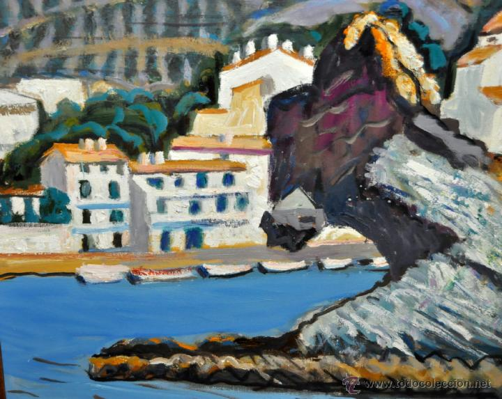 Arte: JORDI CURÓS VENTURA (1930 - 2017) OLEO SOBRE TELA. VISTA DE CADAQUÉS - Foto 5 - 41296327