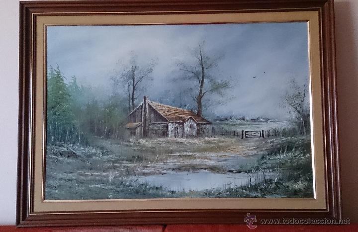Arte: Antiguo cuadro de oleo sobre tela ( casa en el bosque ), firmado por el autor . - Foto 2 - 41311542