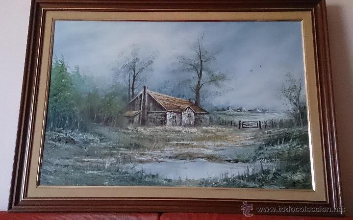 Arte: Antiguo cuadro de oleo sobre tela ( casa en el bosque ), firmado por el autor . - Foto 3 - 41311542