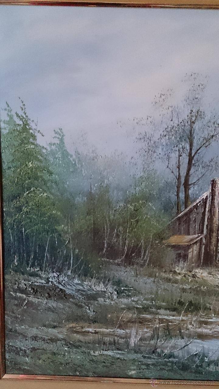 Arte: Antiguo cuadro de oleo sobre tela ( casa en el bosque ), firmado por el autor . - Foto 4 - 41311542