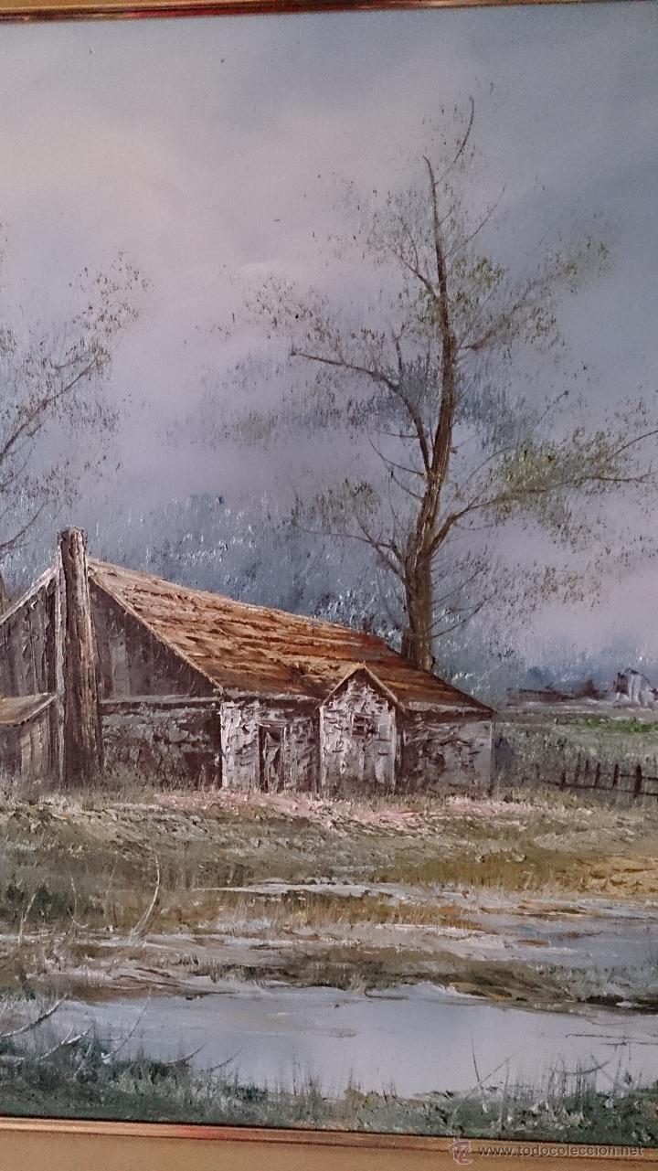 Arte: Antiguo cuadro de oleo sobre tela ( casa en el bosque ), firmado por el autor . - Foto 5 - 41311542