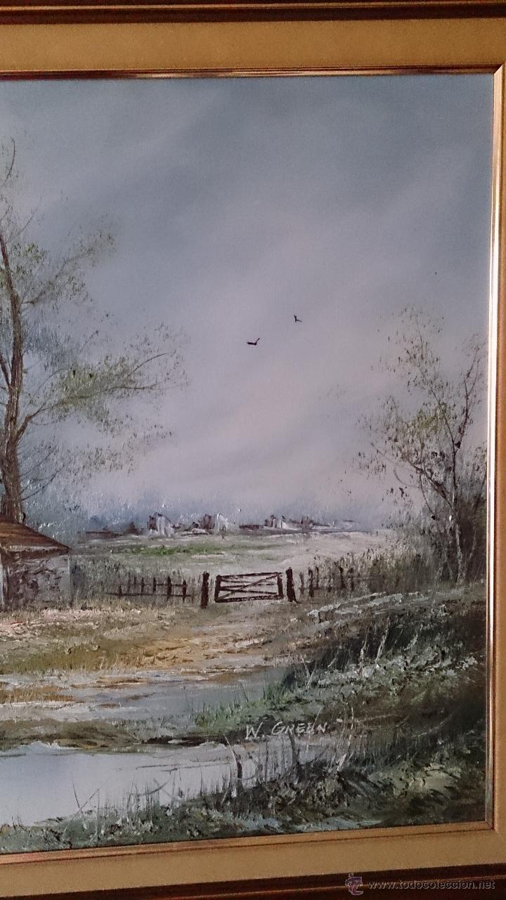 Arte: Antiguo cuadro de oleo sobre tela ( casa en el bosque ), firmado por el autor . - Foto 6 - 41311542