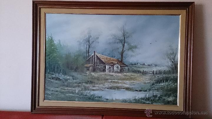 Arte: Antiguo cuadro de oleo sobre tela ( casa en el bosque ), firmado por el autor . - Foto 7 - 41311542