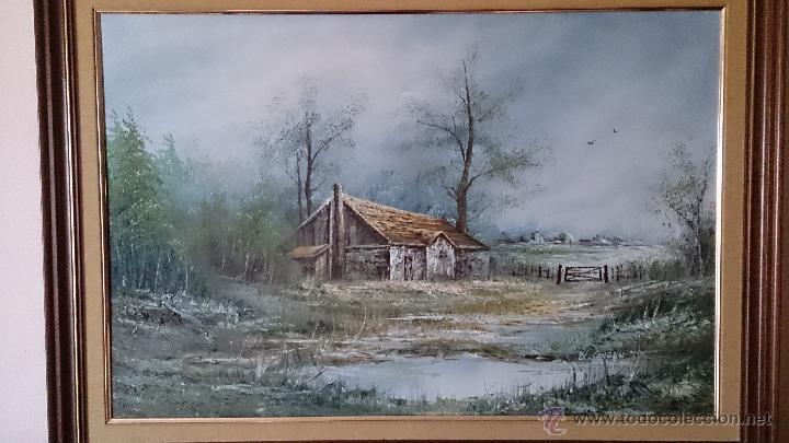 Arte: Antiguo cuadro de oleo sobre tela ( casa en el bosque ), firmado por el autor . - Foto 8 - 41311542