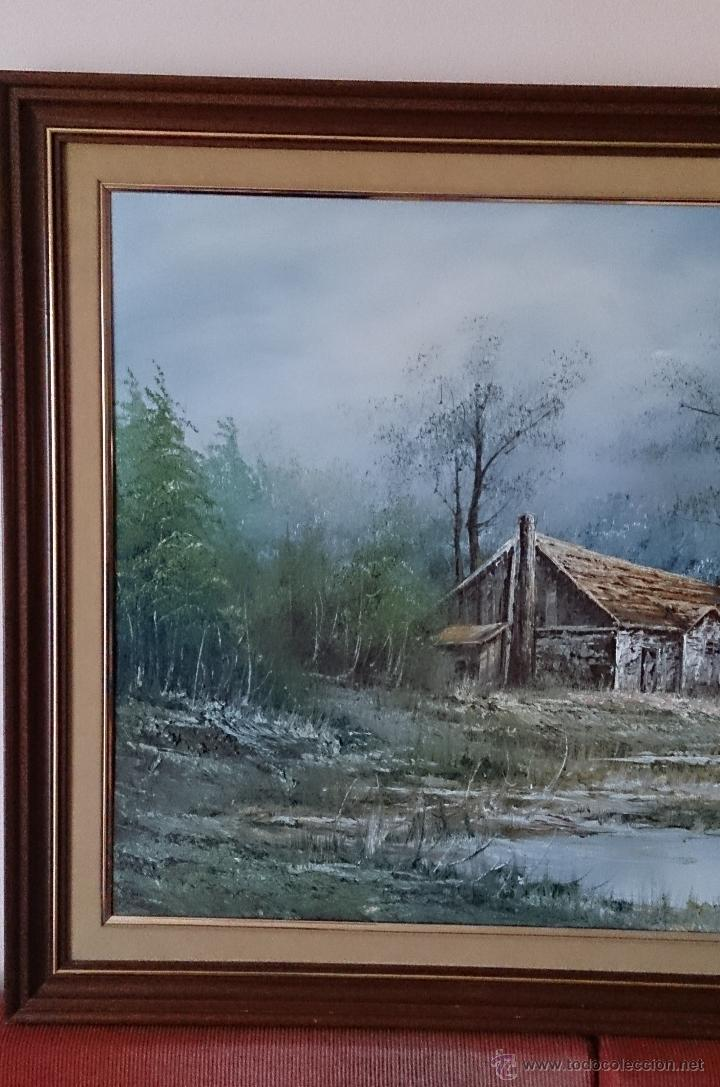 Arte: Antiguo cuadro de oleo sobre tela ( casa en el bosque ), firmado por el autor . - Foto 9 - 41311542