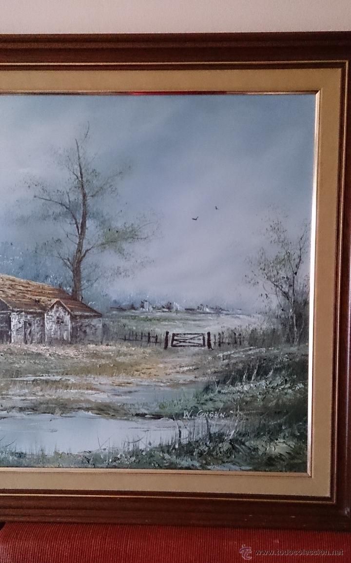Arte: Antiguo cuadro de oleo sobre tela ( casa en el bosque ), firmado por el autor . - Foto 10 - 41311542
