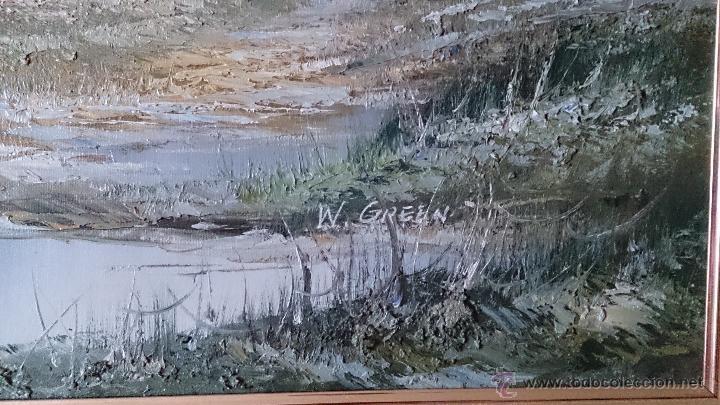 Arte: Antiguo cuadro de oleo sobre tela ( casa en el bosque ), firmado por el autor . - Foto 11 - 41311542