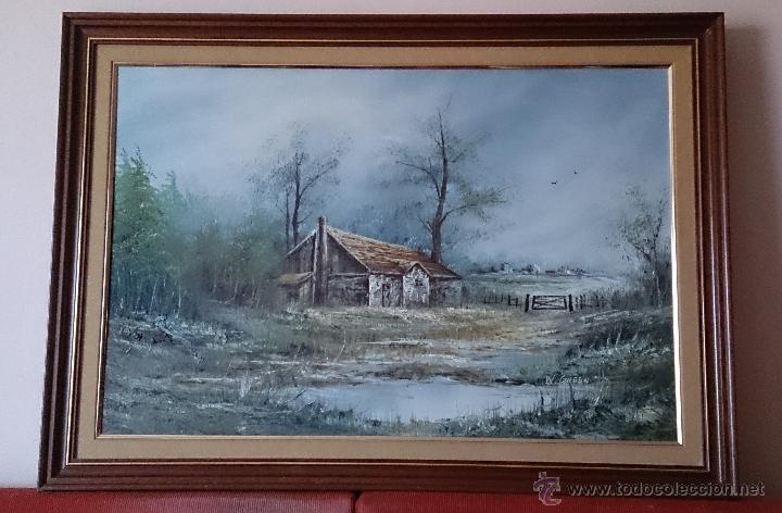 Arte: Antiguo cuadro de oleo sobre tela ( casa en el bosque ), firmado por el autor . - Foto 12 - 41311542