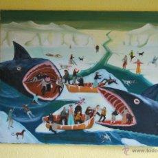 Arte: ÓLEO SOBRE LIENZO - NAUFRAGIO EN UN MAR HELADO - BALLENAS - 81 X 65. Lote 41369722