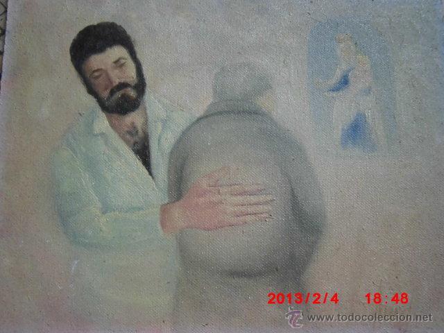OLEO PINTURA FIRMADO ENFERMERO CON PACIENTE CENTRO SALUD PSIQUIATRICO SANTA FAZ ALICANTE (Arte - Pintura - Pintura al Óleo Moderna sin fecha definida)
