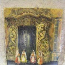 Arte: ÓLEO DE FALLERAS DELANTE DEL PALACIO DEL MARQUÉS DE DOS AGUAS, VALENCIA PINTOR ARNEDO. Lote 41453440