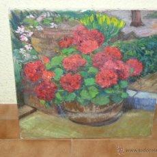 Arte: OLEO / TELA - ANÓNIMO - GERANIOS. Lote 41454778