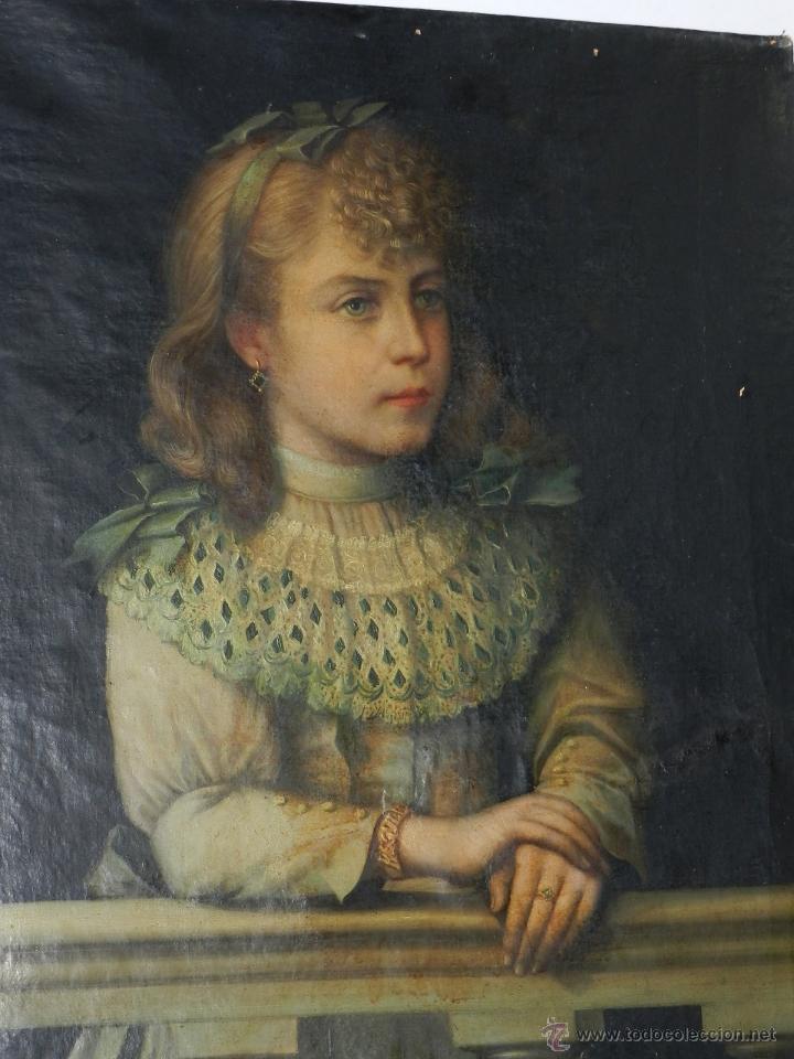 cuadro al oleo, retrato de una niña, mediados d - Comprar ...
