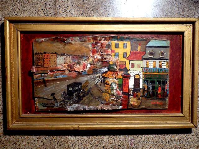 EXTRAÑA OBRA AL ÓLEO SOBRE MADERA ANTIGUA.FIRMADO C.CASAMITJANA.FECHADO A PARIS 1939 (Arte - Pintura - Pintura al Óleo Contemporánea )