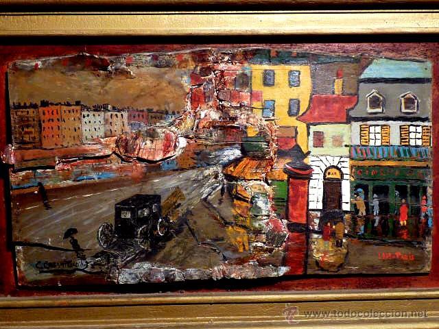 Arte: extraña obra al óleo sobre madera antigua.firmado C.Casamitjana.fechado a Paris 1939 - Foto 2 - 41578972