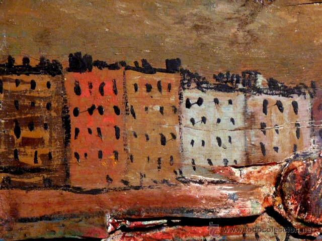 Arte: extraña obra al óleo sobre madera antigua.firmado C.Casamitjana.fechado a Paris 1939 - Foto 3 - 41578972