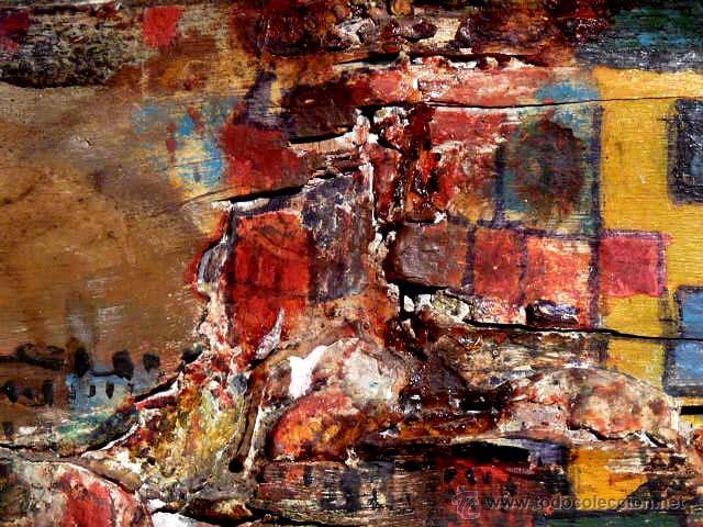 Arte: extraña obra al óleo sobre madera antigua.firmado C.Casamitjana.fechado a Paris 1939 - Foto 4 - 41578972