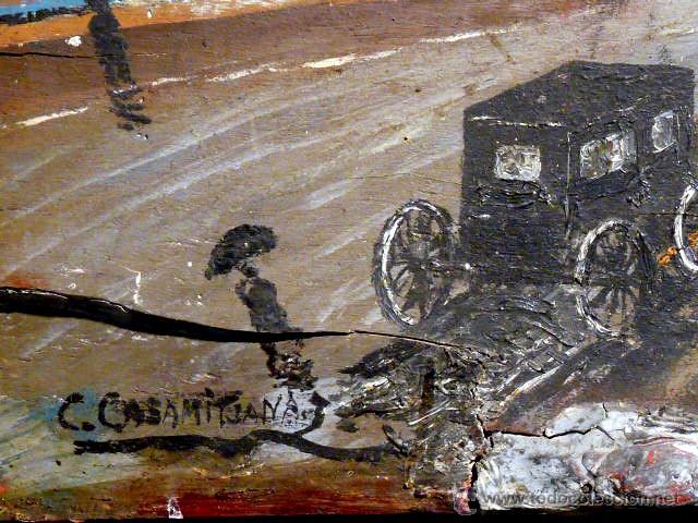 Arte: extraña obra al óleo sobre madera antigua.firmado C.Casamitjana.fechado a Paris 1939 - Foto 5 - 41578972
