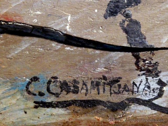 Arte: extraña obra al óleo sobre madera antigua.firmado C.Casamitjana.fechado a Paris 1939 - Foto 6 - 41578972