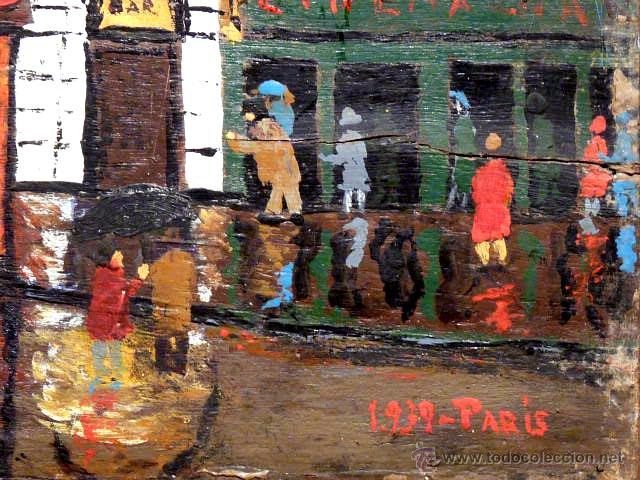 Arte: extraña obra al óleo sobre madera antigua.firmado C.Casamitjana.fechado a Paris 1939 - Foto 8 - 41578972