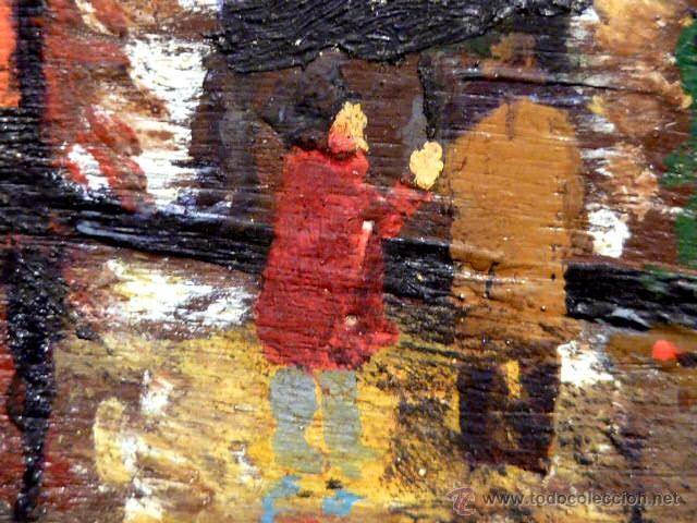Arte: extraña obra al óleo sobre madera antigua.firmado C.Casamitjana.fechado a Paris 1939 - Foto 9 - 41578972