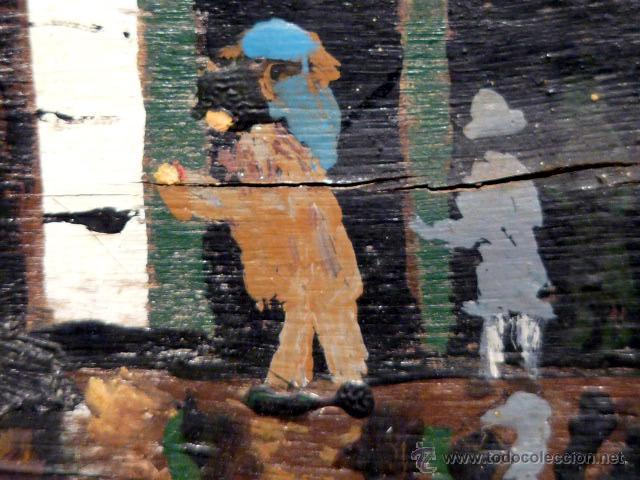 Arte: extraña obra al óleo sobre madera antigua.firmado C.Casamitjana.fechado a Paris 1939 - Foto 10 - 41578972