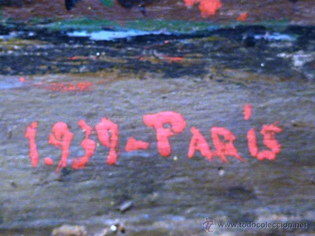 Arte: extraña obra al óleo sobre madera antigua.firmado C.Casamitjana.fechado a Paris 1939 - Foto 11 - 41578972