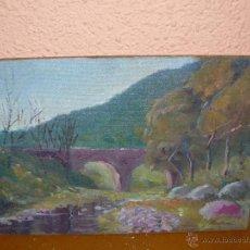Arte: OLEO / TABLEX - ILEGIBLE - PAISAJE CON PUENTE. Lote 41589462