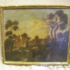 Arte: OLEO EN LIENZO DEL SIGLO XVIII, PAISAJE EUROPEO EL MARCO DE ORO FINO DE ÉPOCA. Lote 41617070