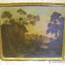 Arte: OLEO EN LIENZO DEL SIGLO XVIII, PAISAJE EUROPEO EL MARCO DE ORO FINO DE ÉPOCA. Lote 41617203