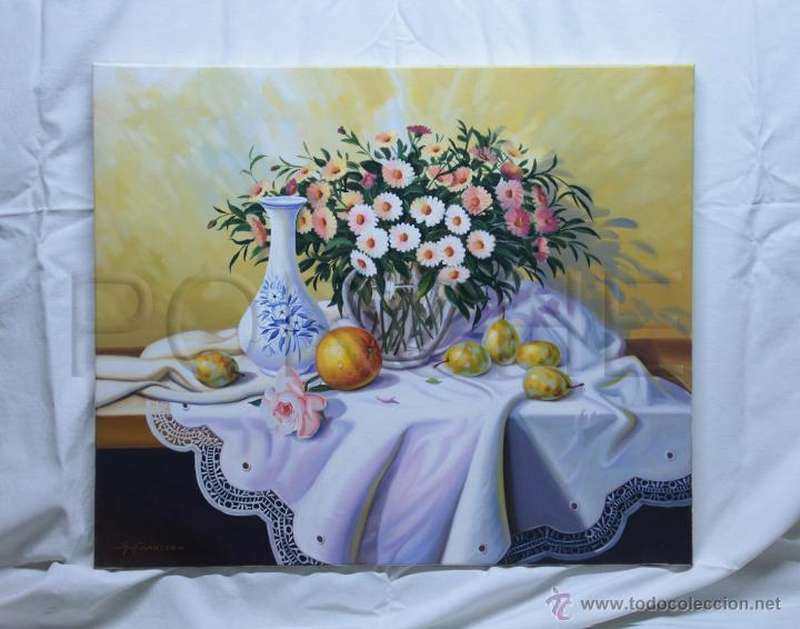 Pintura al leo sobre tela bodeg n fruta y fl comprar for Comprar cuadros al oleo