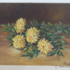 Arte: OLEO SOBRE TABLEX FLORES FIRMA ILEGIBLE. Lote 41623520