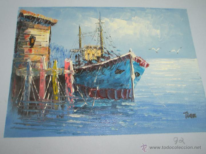 *OLEO SOBRE LIENZO-MARINA-FIRMADA-18,5X15,5 CMS-ANTIGUO-NUEVO-. (Arte - Pintura - Pintura al Óleo Contemporánea )