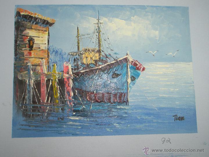 Arte: *OLEO SOBRE LIENZO-MARINA-FIRMADA-18,5X15,5 CMS-ANTIGUO-NUEVO-. - Foto 3 - 41725991