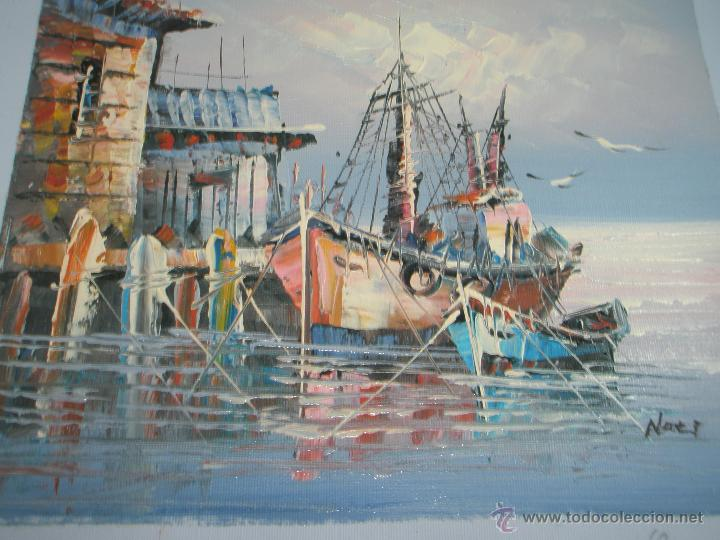 *OLEO SOBRE LIENZO-MARINA-FIRMADA-26X22 CMS-ANTIGUO-NUEVO-. (Arte - Pintura - Pintura al Óleo Contemporánea )