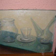 Arte: OLEO / TELA - FDO. OSCAR - JARRA, VASO Y PORRÓN DE CRISTAL. Lote 41777559