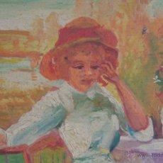 Arte: RETRATO DE MUJER EN TERRAZA. ÓLEO SOBRE TABLA. Lote 41839086