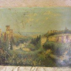 Arte: ÓLEO EN LIENZO DE LA ALHAMBRA Y VISTA PARCIAL DE GRANADA, SIGLO XIX. Lote 41881575