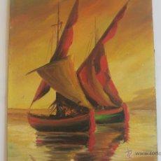 Arte: PUESTA DE SOL BARCOS DE VELA. ÓLEO SOBRE TABLA. Lote 41992210
