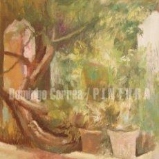 Arte: DOMINGO CORREA. ÓLEO SOBRE LIENZO. 'ARRIATE Y PARRA' 33 X 41. PAISAJE. MACETAS, FLORES.. Lote 30878672