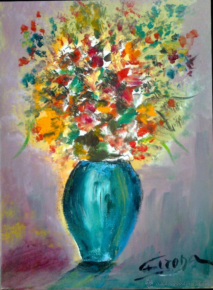 preciosa pintura al oleo de jarrón con flores - Comprar Pintura al ...