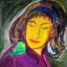 Arte: MI HERMANA CON PERIQUITO,1992,OLEO/PAPEL,70 X 50 CMS,DE ALMA AJO.. Lote 26912596