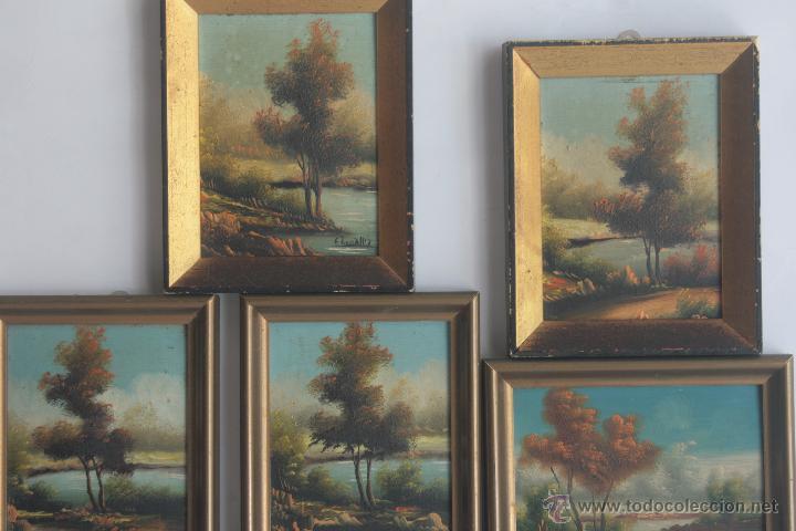 Bonito Lote De 5 Cuadros Pequenos Comprar Pintura Al Oleo - Cuadros-pequeos